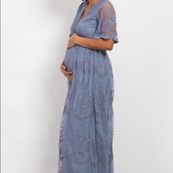 PinkBlush - Blue lace overlay maternity dress. M 5a7a467800450f926dd2cc36 cf6f1c7a8